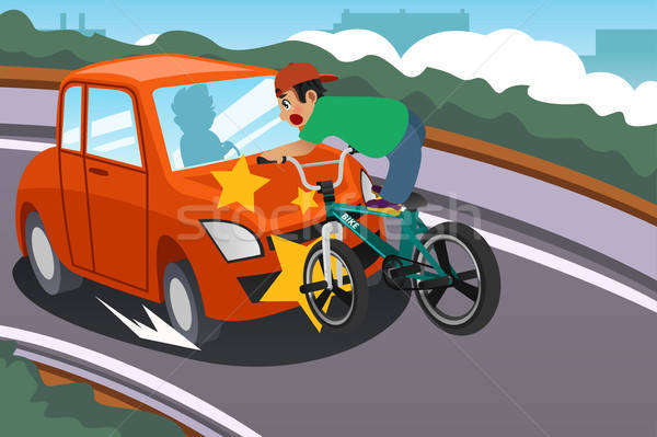 Kid Riding a Bicycle in an Accident with a Car Stock photo © artisticco