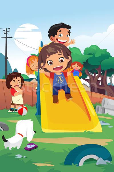 Enfants jouant aire de jeux illustration chien enfants enfants Photo stock © artisticco