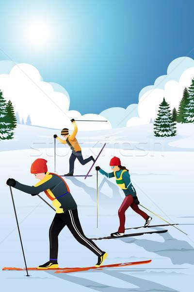Inverno esportes natureza fitness homens exercer Foto stock © artisticco