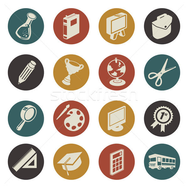 Education icons Stock photo © artisticco