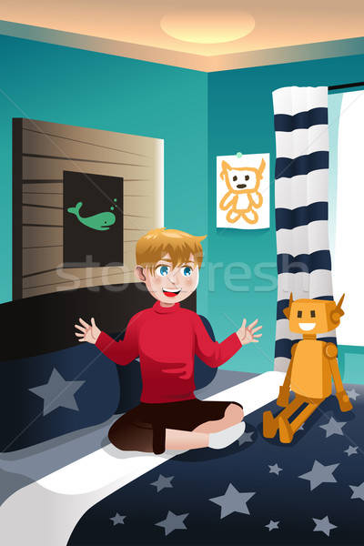 Boy talking with his imaginary friend Stock photo © artisticco