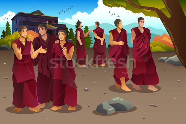 Buddhist monks in Tibet temples Stock photo © artisticco