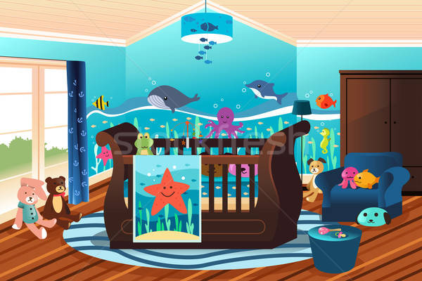 Baba faiskola szoba bútor hálószoba rajz Stock fotó © artisticco