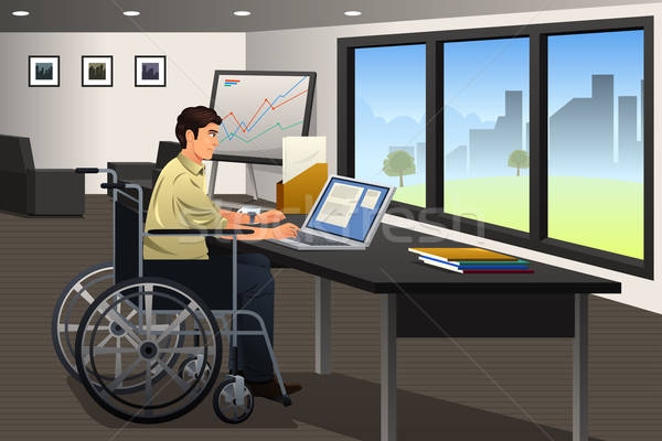 Handicapped Businessman Working in Office Stock photo © artisticco