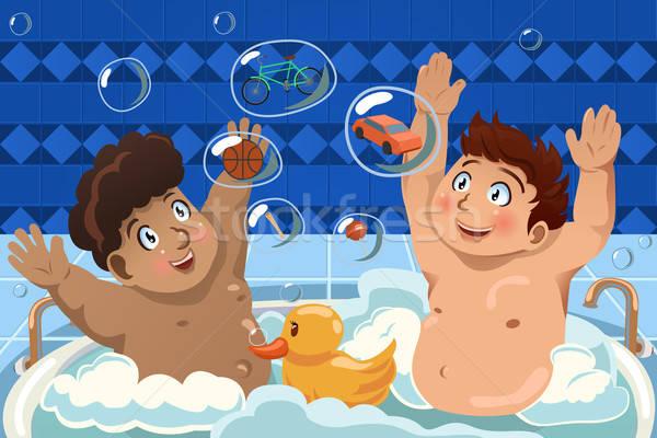 子供 泡風呂 バスタブ 笑顔 友達 少年 ストックフォト © artisticco