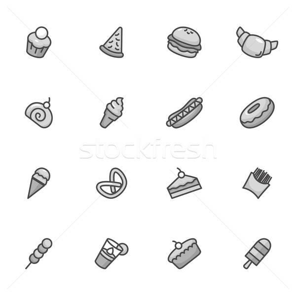 Stock fotó: Desszert · ikonok · feketefehér · pizza · fagylalt · rajz