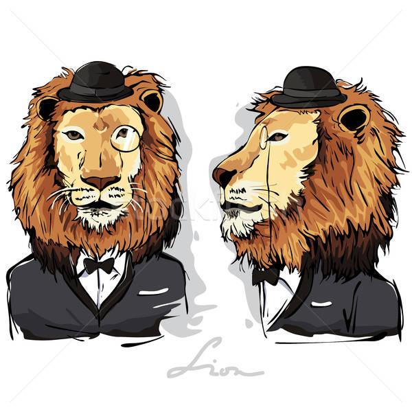 Lew ludzi zwierząt rysunek cartoon nowoczesne Zdjęcia stock © artisticco