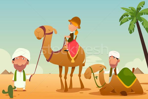 Női turista lovaglás teve sivatag nő Stock fotó © artisticco