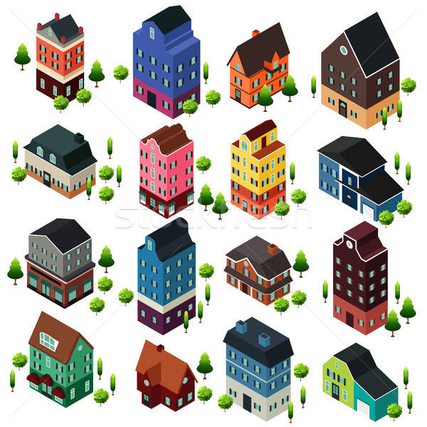 Different Isometric House Buildings Stock photo © artisticco