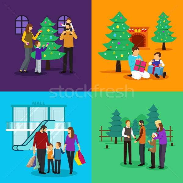 Emberek ünnepel karácsony clipart illusztráció clipartok Stock fotó © artisticco