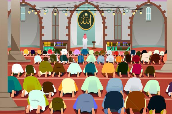 молиться мечети иллюстрация молитвы рисунок Cartoon Сток-фото © artisticco