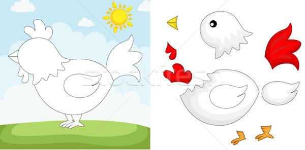 Pollo rompecabezas ninos aprendizaje juego Cartoon Foto stock © artisticco
