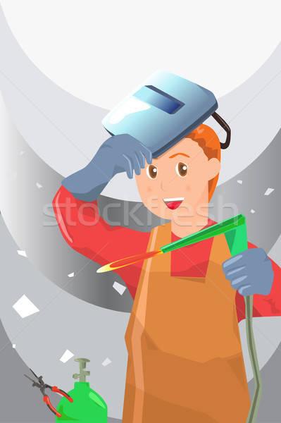 Hegesztő dolgozik munkás szolgáltatás állás szerszám Stock fotó © artisticco