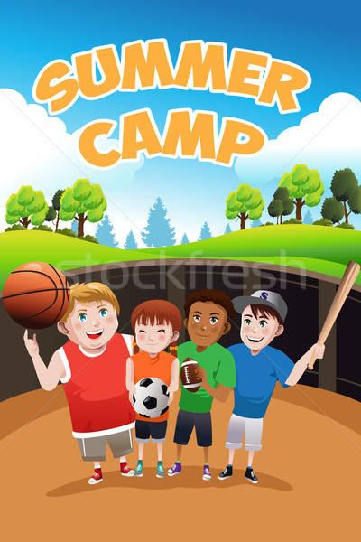 Ninos campamento de verano volante ninos fútbol béisbol Foto stock © artisticco