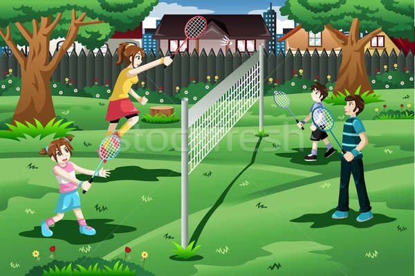 Family playing badminton in the backyard Stock photo © artisticco