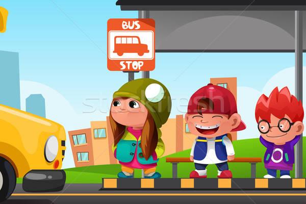 çocuklar bekleme otobüs durağı sevimli çocuklar okul Stok fotoğraf © artisticco