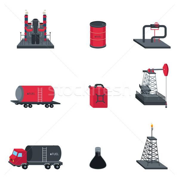 Olie-industrie iconen icon bouw tekening pijp Stockfoto © artisticco