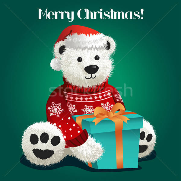 Bear Stuffed Toy Celebrating Christmas Stock photo © artisticco