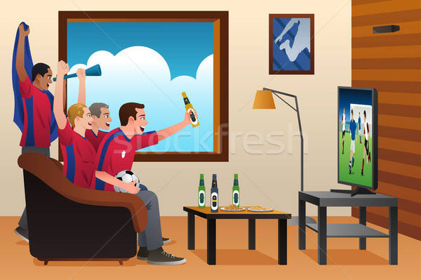 Soccer Fans Watching TV Stock photo © artisticco