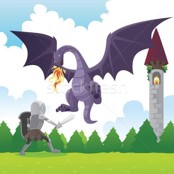 Knight fighting dragon Stock photo © artisticco