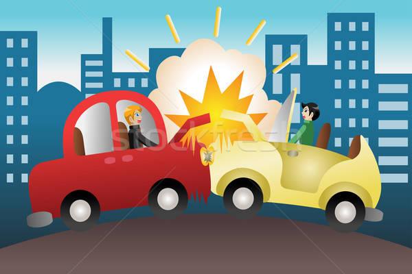 Auto ongeval stad weg straat tekening Stockfoto © artisticco