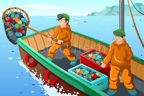 Comerciales pescador pesca mar peces hombres Foto stock © artisticco