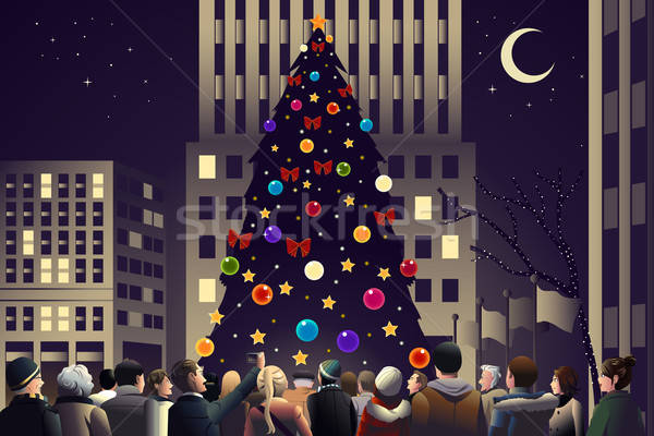 Crowd in the city near big lighted Christmas tree Stock photo © artisticco