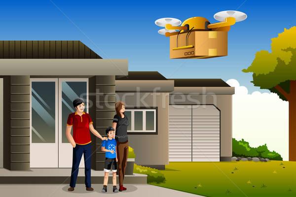 Familie pakketdienst man home jongen dienst Stockfoto © artisticco