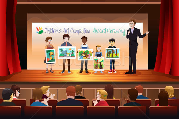 Kids Receiving Award in Art Competition Stock photo © artisticco