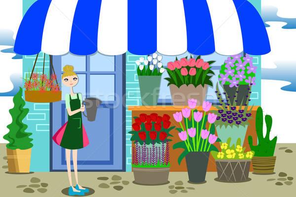 Florista de trabajo diferente flores hermosa Foto stock © artisticco