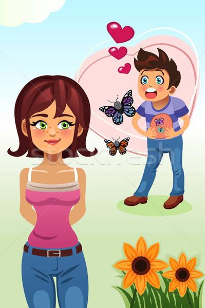 Schmetterlinge Magen Frau weiblichen Zeichnung Stock foto © artisticco