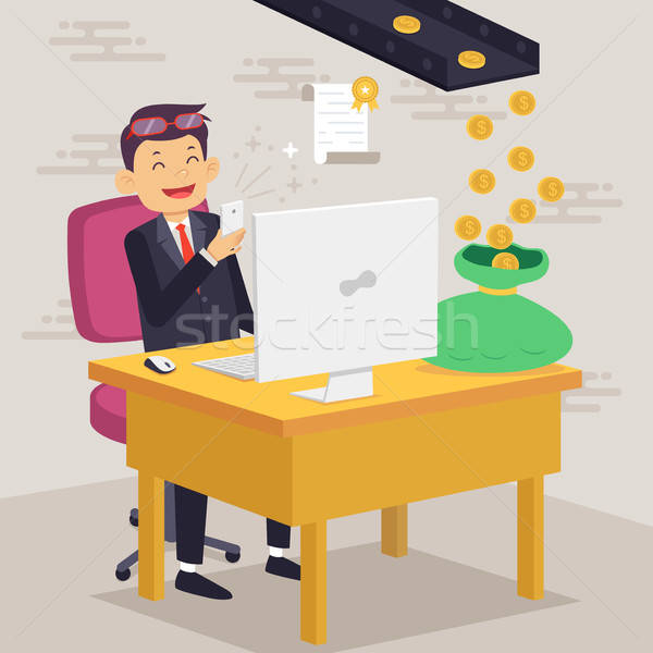 Stock photo: Happy Businessman Making Money Concept