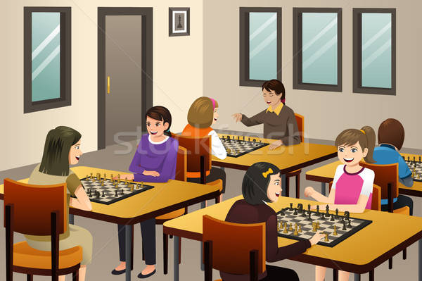 Girls Playing Chess in a Chess Club Stock photo © artisticco