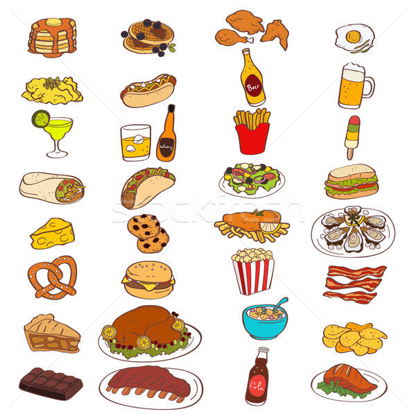 Food and Drink Icons Stock photo © artisticco