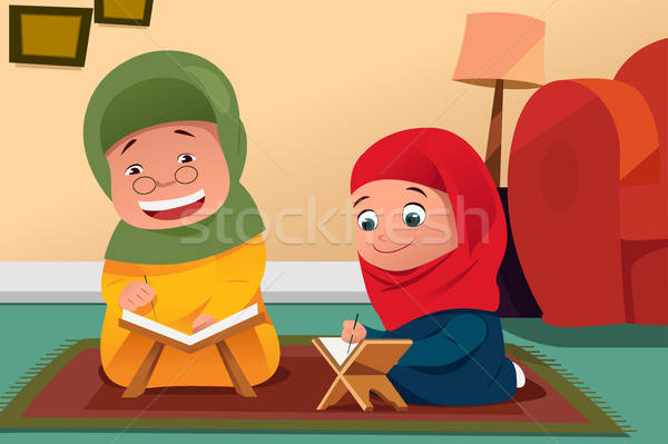 Muslim Mother and Daughter Studying Quran at Home Stock photo © artisticco