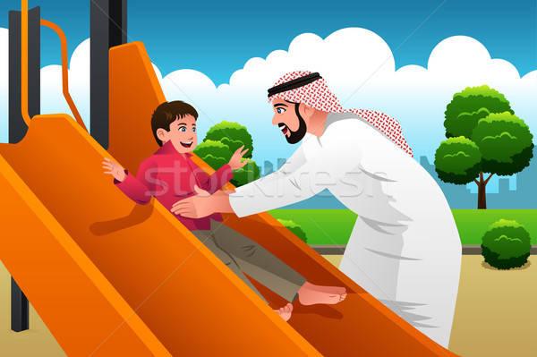 Muszlim arab férfi gyermek játszótér fiú Stock fotó © artisticco