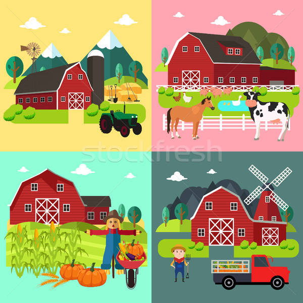 Granja vida maíz otono dibujo Foto stock © artisticco