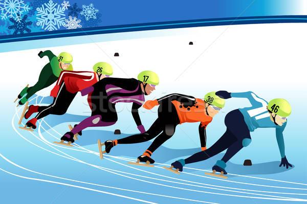 Speed Skating Athletes Competing Illustration Stock photo © artisticco