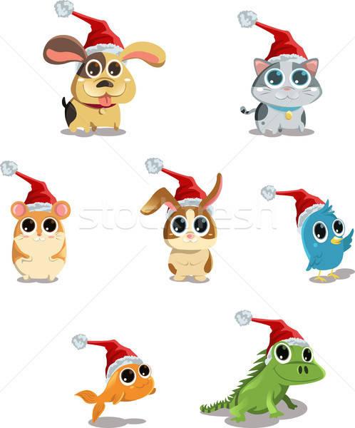 Cute animals wearing Santa hat Stock photo © artisticco