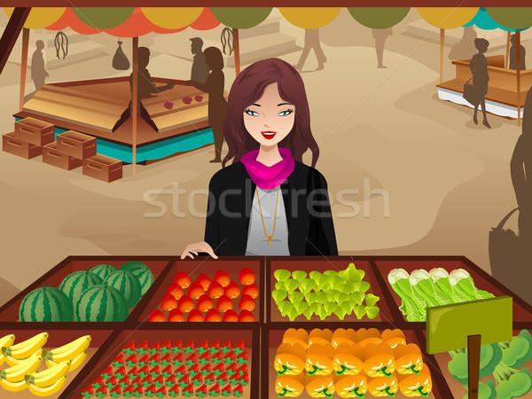 Woman shopping at a farmers market Stock photo © artisticco