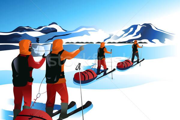 男性 遠征 山 チーム 小さな 図面 ストックフォト © artisticco