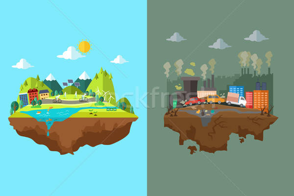 Comparison of Clean City and Polluted City Stock photo © artisticco