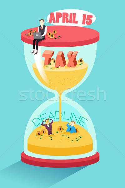 Podatku ostateczny termin biznesmen posiedzenia górę klepsydry Zdjęcia stock © artisticco