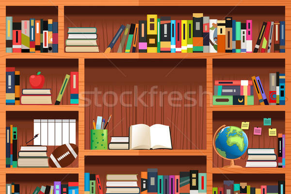Wooden Bookshelves  Stock photo © artisticco