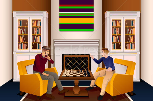 Two Men Playing Chess in the Living Room Stock photo © artisticco