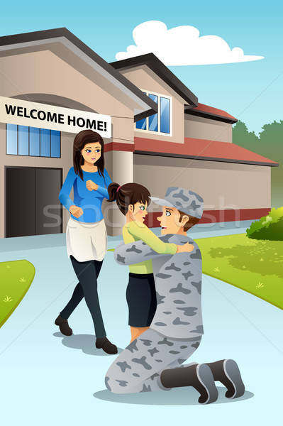 Soldier Dad Coming Home Greeted by His Daughter Stock photo © artisticco
