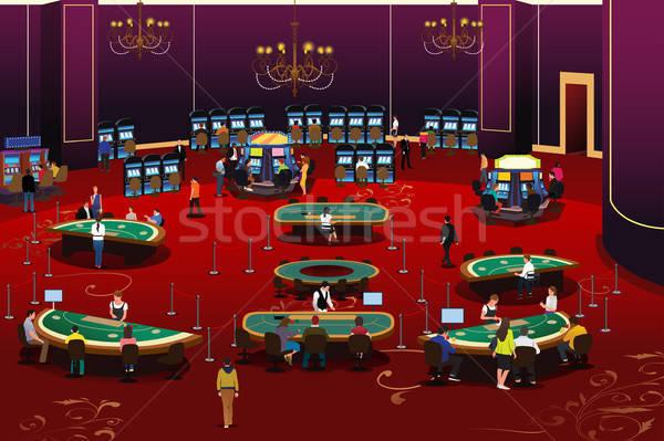 Pessoas jogos de azar cassino ilustração tabela pôquer Foto stock © artisticco