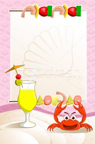 Zeevruchten restaurant menu cocktail tekening dining Stockfoto © artisticco