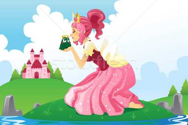 Foto stock: Princesa · beijando · sapo · conto · de · fadas · menina · feliz