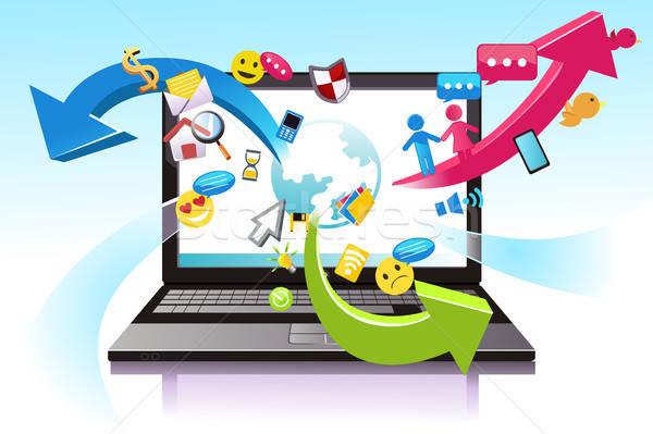 Informatika laptop technológia telefon háló elektronikus Stock fotó © artisticco